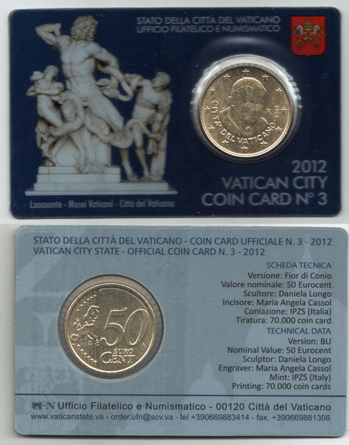 2012 Vatican Coin Card, 50 Eurocent Photo