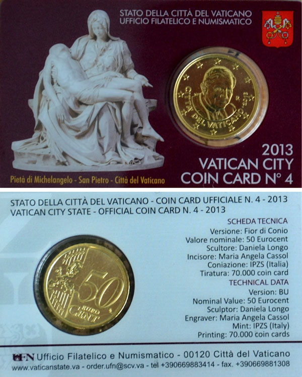 2013 Vatican Coin Card, 50 Eurocent Photo