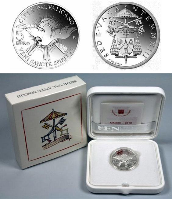 2013 Sede Vacante 5 Euro Silver Coin Photo