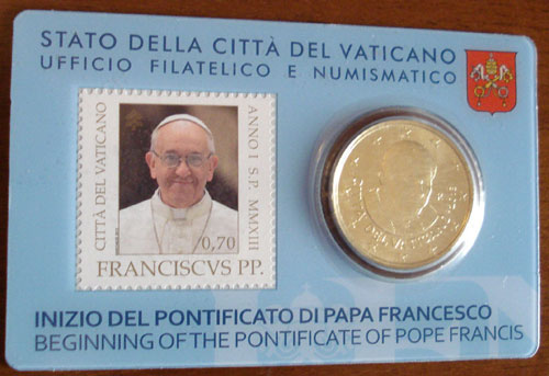 2013 Vatican Coin + Stamp Card Photo