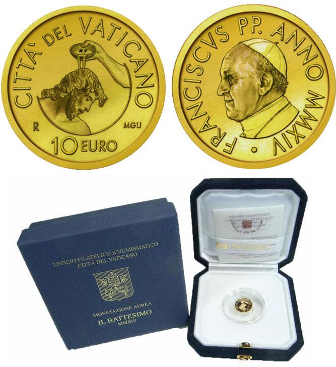 2014 Vatican 10 Euro Gold Coin BAPTISM Photo