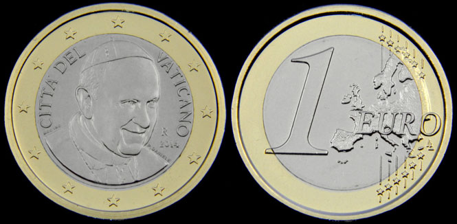 2014 Vatican Pope Francis 1 Euro Coin B/U Photo