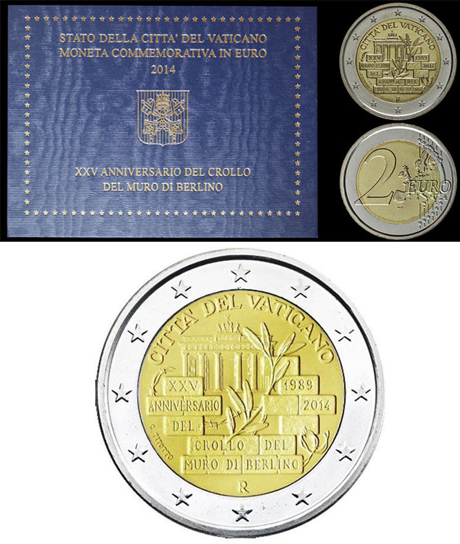 2014 Vatican 2 Euro Bimetal: Fall of Berlin Wall Photo
