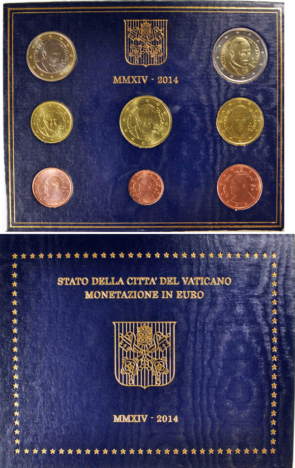 2014 Vatican Coin Set, 8 Euro Coins BU Photo