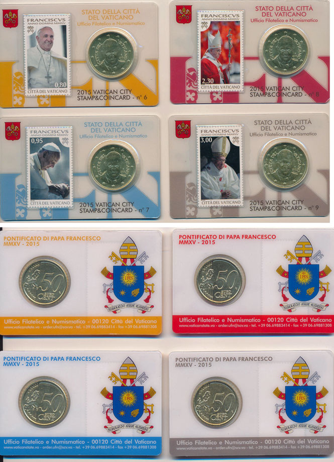 4 Vatican 2015 Coin & Stamp Cards of Pope Francis Photo