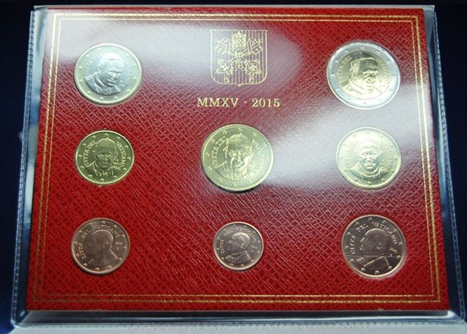 2015 Vatican Coin Set, 8 Euro Coins BU Photo
