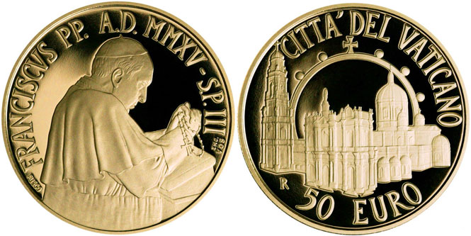 2015 Vatican 50 Euro Gold: Pontifical Shrine Photo