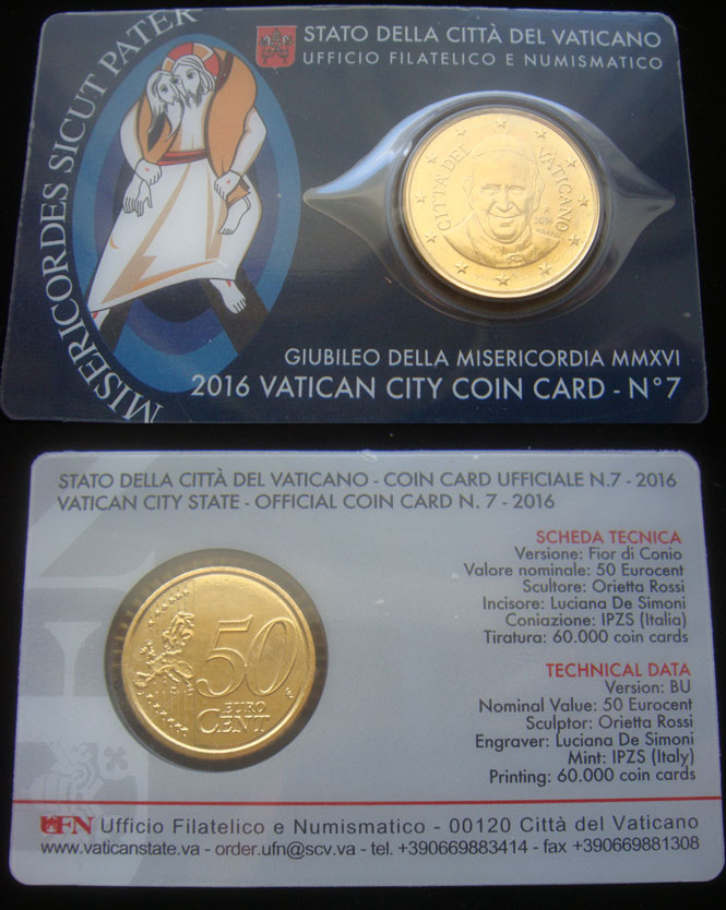 2016 Vatican Coin Card of Pope Francis Photo