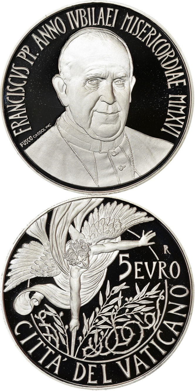 2016 Vatican 5 Euro Silver Angel Coin Photo