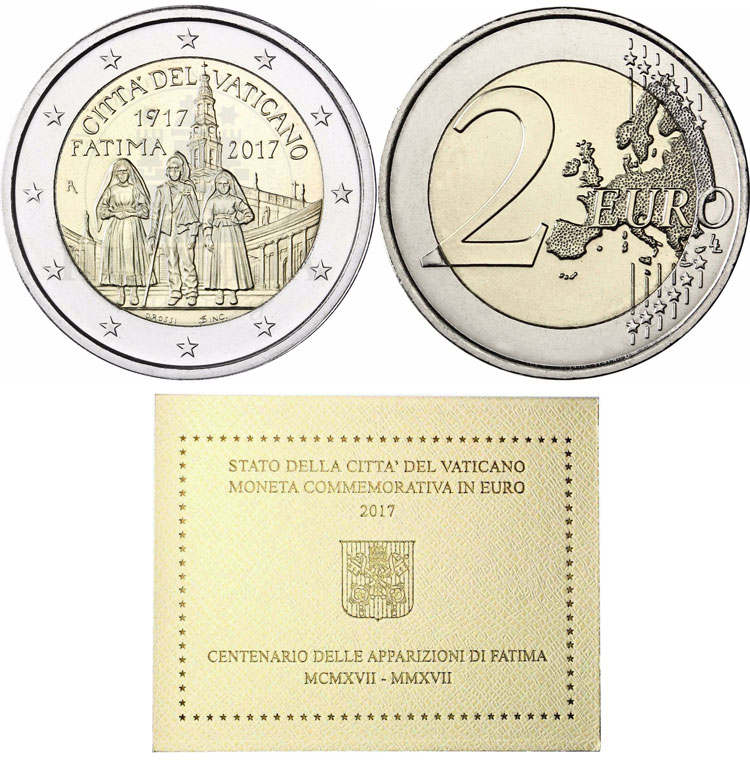 2017 Vatican 2 Euro Apparition of Fatima BU Photo