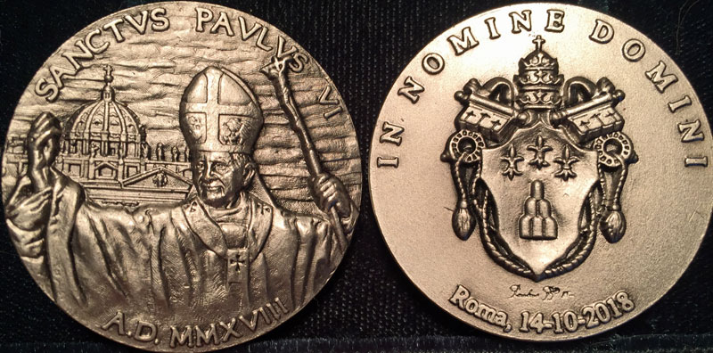 2018 Canonization of Paul VI Medal Photo