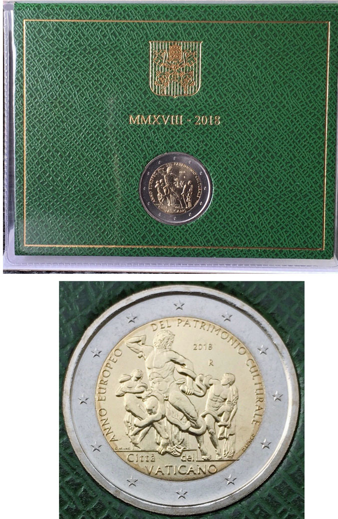2018 Vatican 2 Euro Heritage B/U Photo