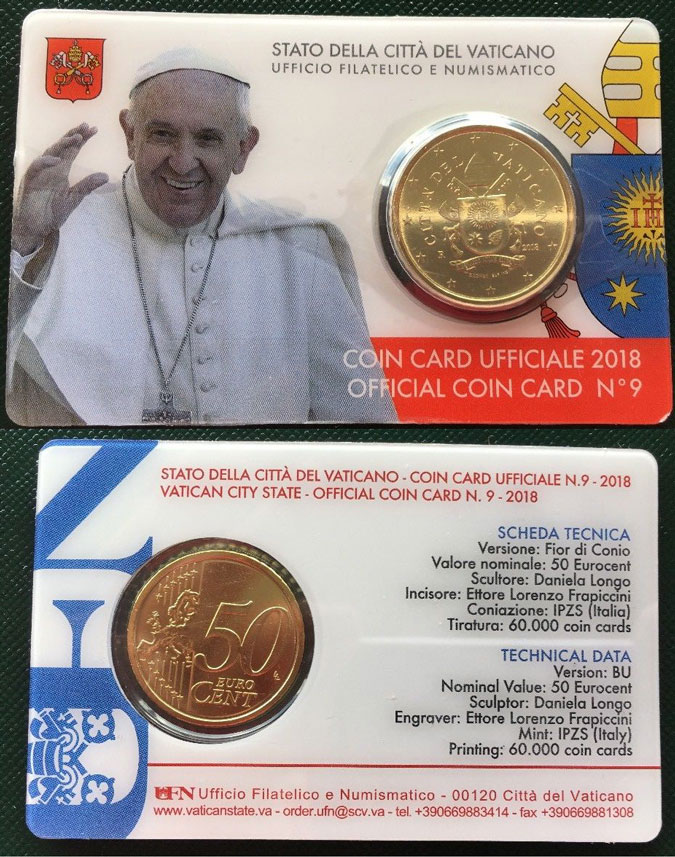 2018 Vatican Coin Card of Pope Francis Photo