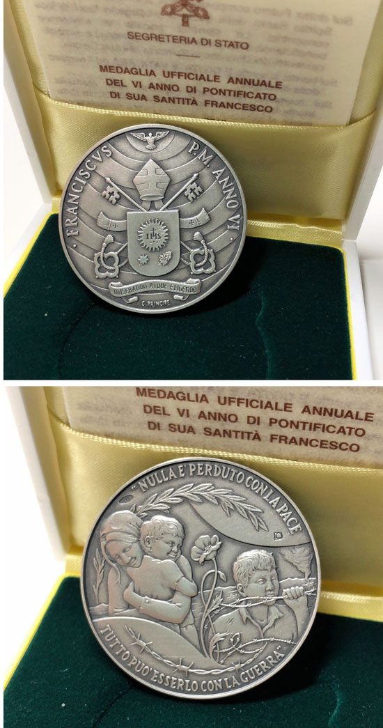 Pope Francis Anno VI Silver Medal Photo