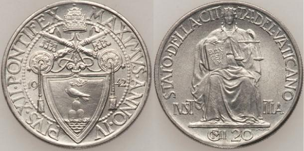 1942 Vatican City 20 Centesimi Photo