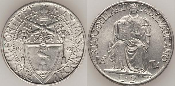 1942 Vatican City 2 Lire Photo