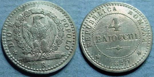 1849 Roman Republic 4 Baiocchi XF-AU Photo