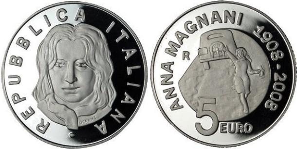 2008 Italy 5 Euro Silver Coin ANNA MAGNANI Photo