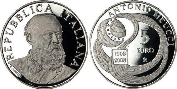 2008 Italy 5 Euro Silver Coin ANTONIO MEUCCI Photo