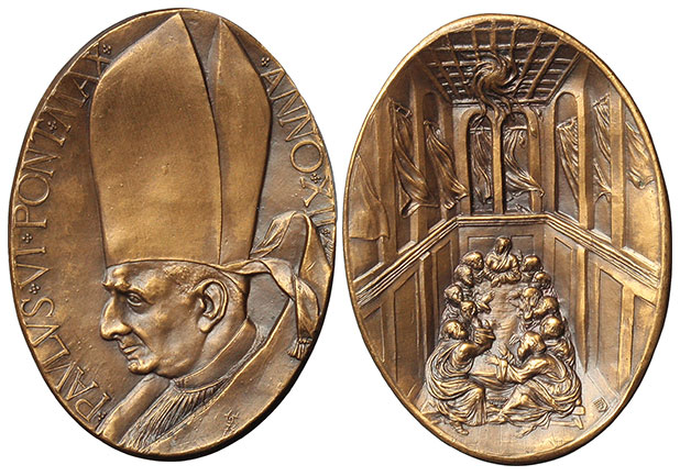 Paul VI (1963-78) Anno XII Bronze Medal Pentecost Photo
