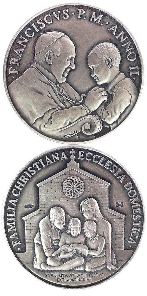 Pope Francis Anno II Ag Medal Extraordinary Synod Photo