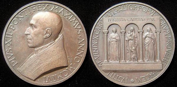 Pius XII 1956 Extraordinary Medal Photo