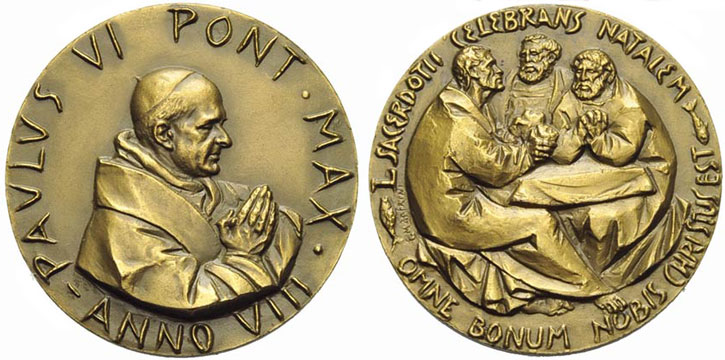 Paul VI (1963-78) Anno VIII Bronze Medal Photo