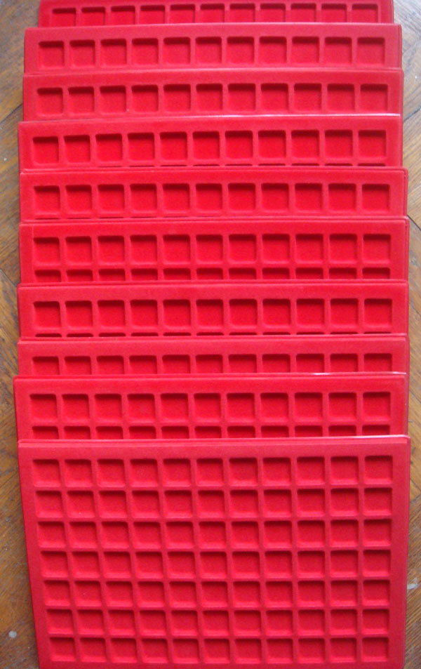 Lot of 10 ABAFIL Coin Trays, 77 Compartments, Red Photo