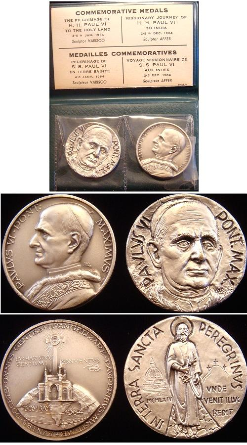 Paul VI 1964 Pair of Trip Medals Photo