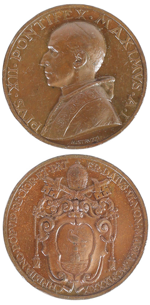 Pius XII (1939-58) Anno I Election Medal Photo