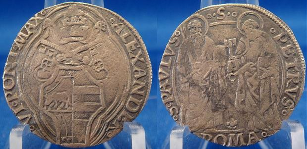 Alexander VI (1492-1503) Silver Grosso Coin Photo