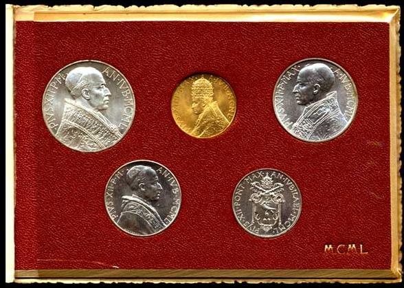 1950 Vatican Mint Set With 100 Lire Gold B/U Photo