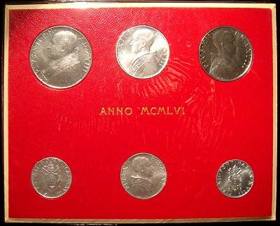 1956 Vatican Mint Set, 6 Coins BU Photo