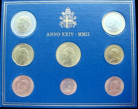 2002 Vatican Mint Set, 8 Euro Coins BU Photo