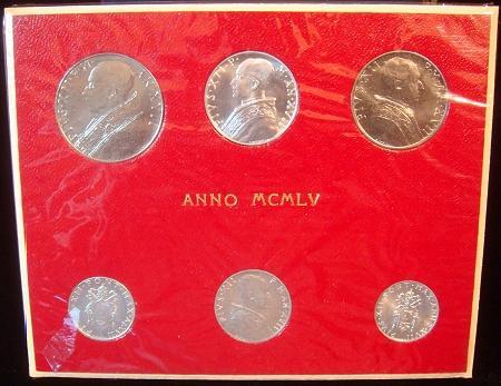 1955 Vatican Mint Set, 6 Coins BU Photo