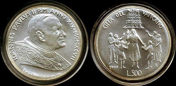 1997 Vatican 500L Silver Commemorative BU Photo