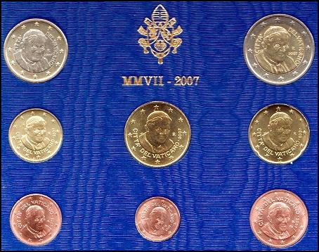 2007 Vatican Mint Set, 8 Euro Coins BU Photo