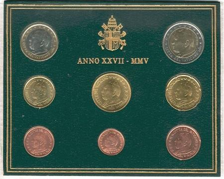 2005 Vatican Mint Set, 8 Euro Coins BU Photo