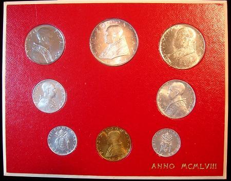 1958 Vatican Mint Set, 8 Coins BU Photo