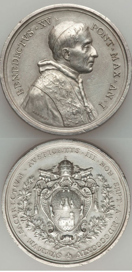 Benedict XV (1914-22) A.I Silver Election Medal Photo