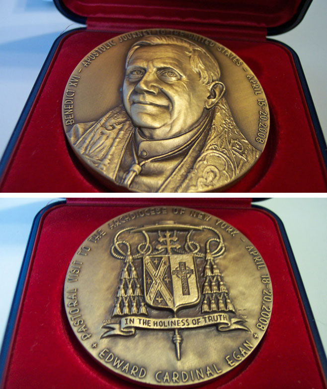 Benedict XVI 2008 Archdiocese NY Bronze Medal Photo