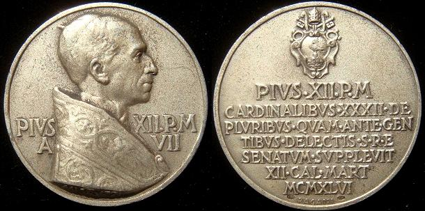 Pius XII 1946 Appointment of 32 Cardinals Ar Medal Photo