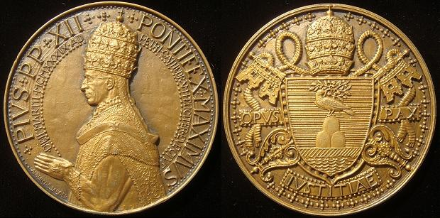 Pius XII 1939 Raising to Papal Throne 68mm Photo