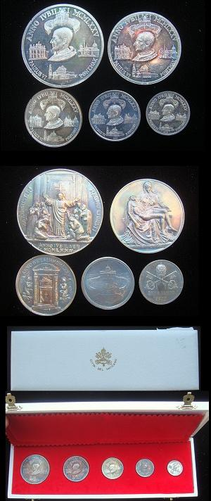 Paul VI 1975 Holy Year Set 5, Ar, Cased Photo