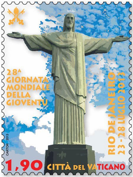2013 Vatican Stamp 28th World Youth Day Rio Photo