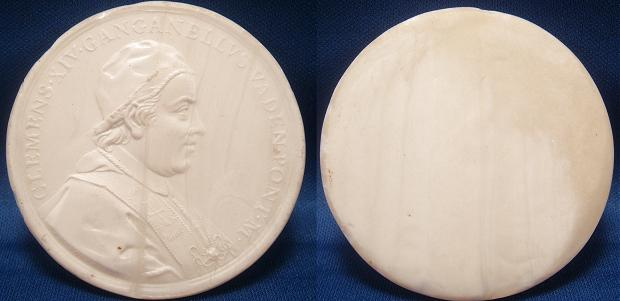 Clement XIV (1769-74) White Glass Medal Photo