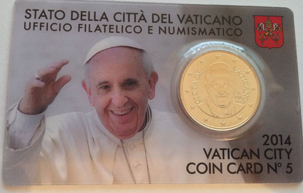 2014 Vatican Coin Card of Pope Francis Photo