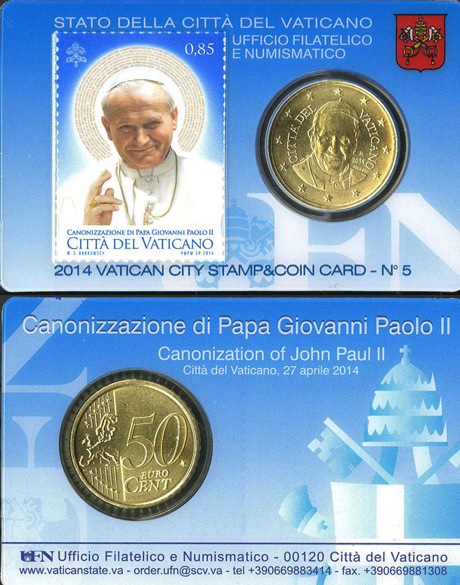 2014 Vatican Coin & Canonization Stamp Card Photo