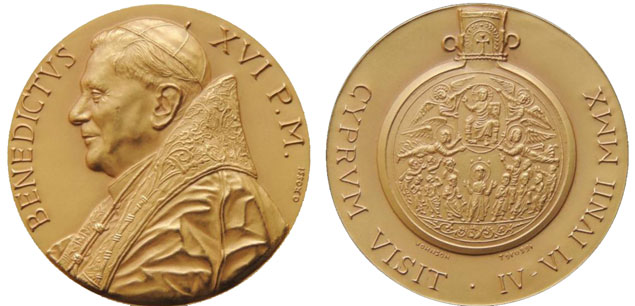 Benedict XVI 2010 Cyprus Pilgrimage Medal Photo