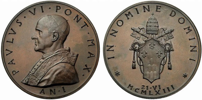 Paul VI (1963-78) Anno I Election Bronze Medal Photo